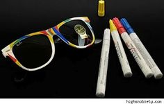 DIY sunglasses: White sunglasses and paint markers