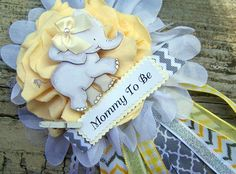 Elephant Mom To Be Corsage Yellow and Gray by BloomingParty, $16.00