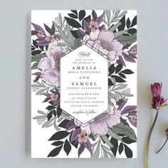 """Vintage Boughs"" - Wedding Invitations in Bluebell by Grace Kreinbrink."