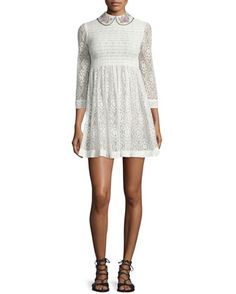 3/4-Sleeve+Lace+Mini+Dress,+Ivory+by+RED+Valentino+at+Neiman+Marcus.