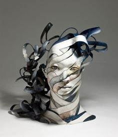 0 portrait head sculpture made of ribbons of ceramics by Haejin Lee