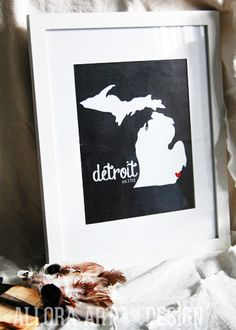 detroit print | by allora art and design | available for purchase at: www.etsy.com/shop/alloraartanddesign   ::::::::::::::::::::::::::::::::::::::::::::::::           #detroit #michigan #mitten #illustration #greatlakes #print #michiganprint #michiganillustration #michiganmap #smittenwiththemitten