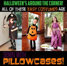 Need a quick costume? All 3 of these easy-sew costumes were made from pillowcases! Make a Pirate Vest, a Pumpkin, or a Princess with these easy sewing tutorials! Easy Costumes, Halloween Costumes, Halloween Sewing Projects, Pumpkin Costume, Sewing Tutorials, Pillow Cases, Embroidery, How To Make, Baby