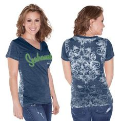 Seattle Seahawks Touch by Alyssa Milano Women's Audrey V-Neck T-Shirt – College Navy