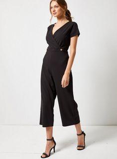 c855d74e24 Womens Black Button Wrap Culotte Jumpsuit- Black