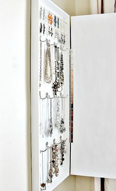 Built In Jewelry Organizer.  A fabulous way to get a large amount of jewelry organized beautifully!  www.thistlewoodfa...