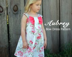 Aubrey Bow Dress Sewing Pattern. Girl's Dress by RubyJeansCloset