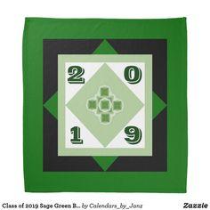 Shop Class of 2020 Green Graduation Bandana by Janz created by Calendars_by_Janz. Shop Class, Class Of 2019, Graduation Day, Dog Bowtie, School Spirit, Birthday Celebration, Bandana, Sage, Back To School