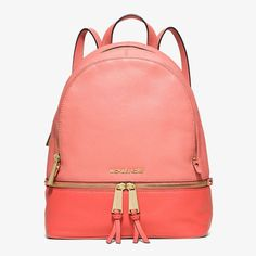 MICHAEL Michael Kors Rhea Small Color-Block Leather Backpack Pink/Red