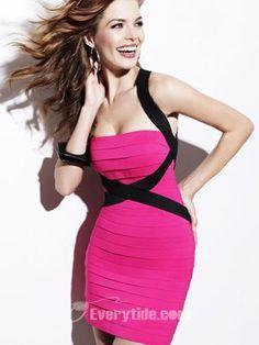 Satin Straps Mini Sheath   Column Cocktail Dresses   Prom Party  pink pink cocktail  dress 73ac401a1180