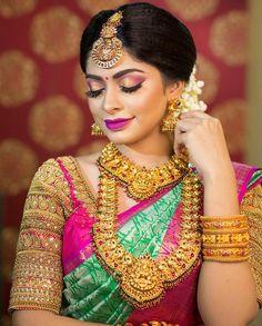 Pattu Saree Blouse Designs To Rock Your Desi Bridal Look Wedding Saree Blouse Designs, Pattu Saree Blouse Designs, Fancy Blouse Designs, Saree Wedding, Bridal Sarees, Wedding Saree Collection, Indian Bridal Fashion, Wedding Dresses For Girls, South Indian Bride