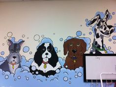 mural painted at Bentley's Dog Wash in Plano, Tx