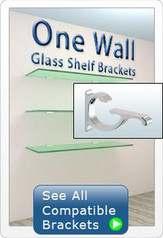 One Wall Glass Shelf Brackets. This site sells glass shelves and also different brackets to hang them. Want some for the kitchen nook Glass Shelf Brackets, Decorative Shelf Brackets, Glass Shelves In Bathroom, Floating Glass Shelves, Room Shelves, Display Shelves, Industrial Shelving, Wire Shelving, Gondola Shelving