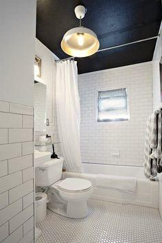 black ceiling in white bathroom painted ceiling via apartment therapy Spa Like Bathroom, Bathroom Renos, Small Bathroom, Bathroom Black, White Bathrooms, Bathroom Ideas, Bathroom Colors, White Bathroom Paint, Black Bath