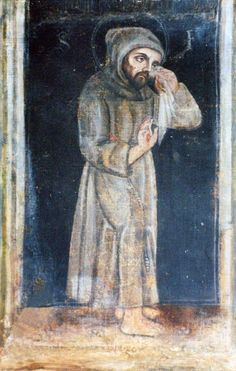 The Portrait of St. Francis of Assisi      Painted while he was still living, it is still kept in a church at Greccio (near Rieti),   In this painting, Francis wipes his eyes with a handkerchief, but he isn't crying, he is suffering because of his serious illness: at times his eyesight so far failed him that he was almost wholly blind.  Also note the Stigmata which he suffered from until he died.