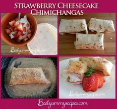 STRAWBERRY CHEESECAKE CHIMIS -- 8 oz. Cream Cheese; 1/4 C Sour Cream; 1/4 C + 1 T Sugar, divided; 1 t Vanilla; 1/2 t Lemon Zest. 6 Flour Tortillas; 1 + 3/4 C Strawberries, sliced, divided; 1 T Cinnamon. Beat together first 5 ingredients, fold in 3/4 C strawberries. Divide between tortillas, fold 2 sides toward center, roll like burrito. Mix 1/4 C sugar and cinnamon. Deep fry for 3 minutes. Drain on paper towel-lined plate. Roll in cinnamon and sugar. Top w/strawberries and whip cream. Serve…