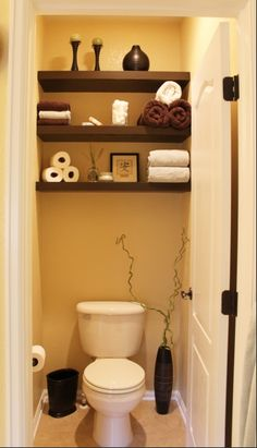 Floating shelves above the toilet. Could be very handy, knowing we'll have…