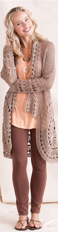 sweater - color combination is so sweet.. love the length and the trim on this sweater - Donna @ mycrochetbug.com
