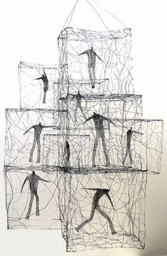 Wire sculpture& drawings by Polish born Australian artist Barbara Licha . These figures are very much trapped and caged, but .the art room plant: Barbara Licha Wire Art Sculpture, Bronze Sculpture, Wire Sculptures, Sculpture Ideas, Sculptures Sur Fil, Instalation Art, 3d Figures, 3d Studio, Australian Artists