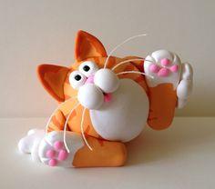 Polymer Clay Red Tabby Cat Figurine by handmademom on Etsy, $19.99