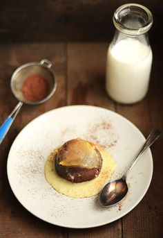 Chocolate Pear Cakes with Espresso Creme Anglaise