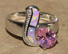 pink fire opal topaz ring gemstone silver jewelry Sz 8.5 modern cocktail C54S #Cocktail