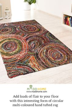 Add loads of flair to your floor. #MaddHome #HomeDecor #Carpets Buy @ https://www.maddhome.com/gevas-circular-hand-tufted-carpet.html