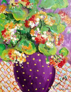 Geranium Polka Dot  Still life Painting  oil by ElainesHeartsong, $130.00
