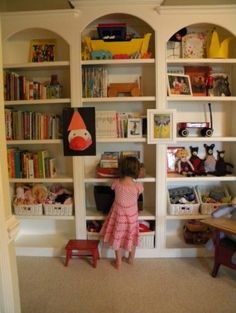 I'd love to have all of my books on shelves like this with a big comfy chair, overhead lamp.