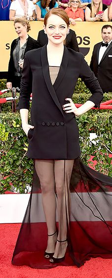 Black one piece tuxedo gown Dior Couture -SAG Awards #HauteCouture #RedCarpet