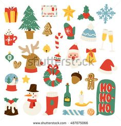 Christmas greeting card symbols vector winter celebration design. Merry Christmas 2017 sign holidays winter decoration ornament collection. Hand drawn New Year greeting card icons.