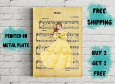 Beauty And The Beast Belle Disney Music Art Metal Print-Belle Disney Music, Disney Art, Beauty And The Beast, Unique Jewelry, Handmade Gifts, Metal, Prints, Poster, Decor