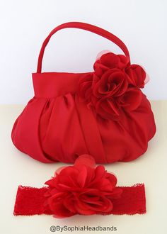 Red Flower Purse Girl's Red Purse Girl's Red by BySophiaBaby