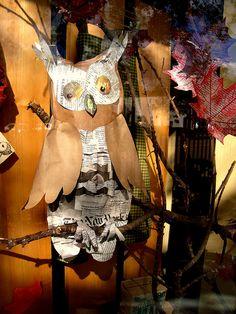 Owl!! @K D Eustaquio Hamblin @Kristin Cordell Duckworth @Stephanie Close Close Maxwell Store Window Displays, Library Displays, Retail Windows, Store Windows, Autumn Display, Visual Display, Visual Merchandising, Window Design, Store Design
