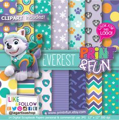 #everest #pawpatrol #dogs #animallover #partystylist http://www.printnfun.com/store/p160/Everest_Paw_Patrol_Patrulla_de_Cachorros_Digital_Paper_Patterns_Fondos.html