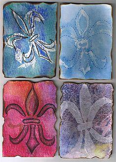 Fleur-de-lis swap. Made using watercolors, colored pencils, wax, hairwax and pattern paper.