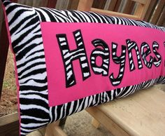 Zebra print and hot pink personalized name pillow by SweetSamantha on Etsy