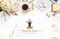 Black Gold Glitter Crown Logo Watercolor Handpainted Premade