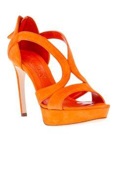 The hottest summer sandals: Alexander McQueen orange suede heels