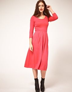 Enlarge ASOS Knitted Midi Dress With Waisted Zip Back