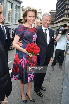 Queen Mathilde of Belgium and King Philippe - Filip of Belgium arrive for a prelude concert by the Belgian National Orchestra on the eve of Belgium's National Day, on 20 July 2015, at Bozar in Brussels. AFP PHOTO / BELGA / BRUNO FAHY** Belgium Out **        (Photo credit should read BRUNO FAHY/AFP/Getty Images)