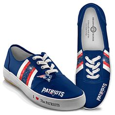 NFL-Licensed New England Patriots Women's Canvas Sneakers - I Love The Patriots Women's Shoes --- Soooo cute! <3
