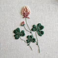 Clover embroidery, decided to try some botanicals :)