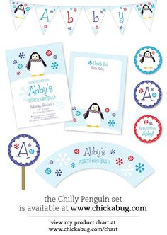 penguin invitation - also available: banner, thank you's, cupcake toppers, etc.