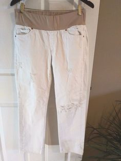 fb3147286aa8e Gap Maternity 1969 Real Straight pull on distressed jeans with wide  stretchy beige waistband. Leg Opening: Size: 28 / Inseam: Color(s): White  Beige.