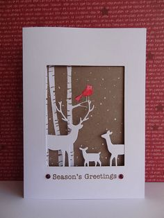handmade card ... winter scene in die cuts ... deer family and birch trees in white ... red bird ... brwon background ... luv the delicate look ... Memory Box