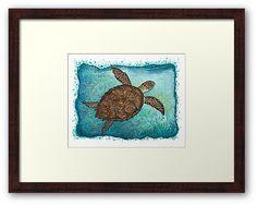 Hawksbill Sea Turtle ~ Watercolor by wildife artist Amber Marine ••• AmberMarineArt.com