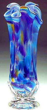 """Sacred Rainbow"" - Blown Glass Vase Fluted"