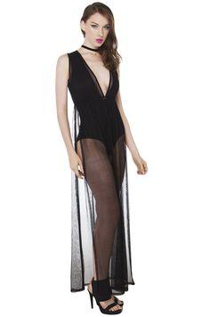 Sexy Black Sleeveless Mesh with Bodysuit Midi Dress | AKIRA