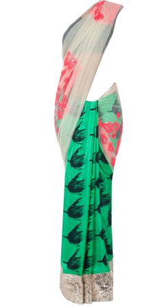 Green tulip print embroidered sari by MASABA. Shop at http://www.perniaspopupshop.com/whats-new/masaba-87